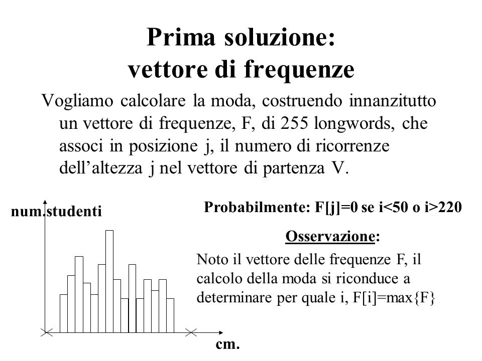 Prima soluzione: vettore di frequenze