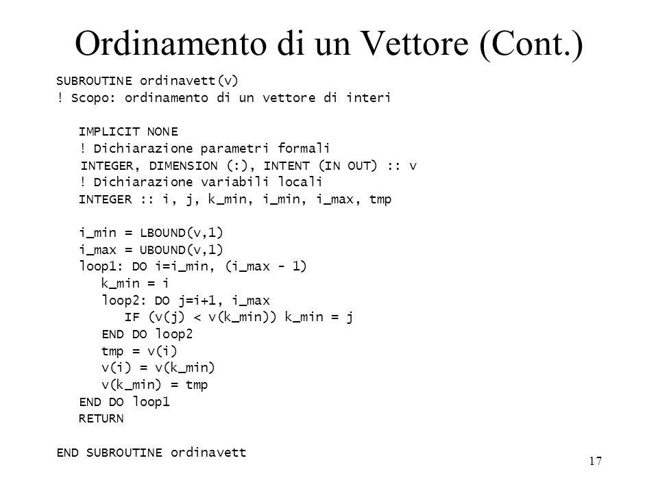 Ordinamento di un Vettore (Cont.)