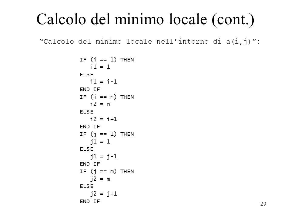 Calcolo del minimo locale (cont.)