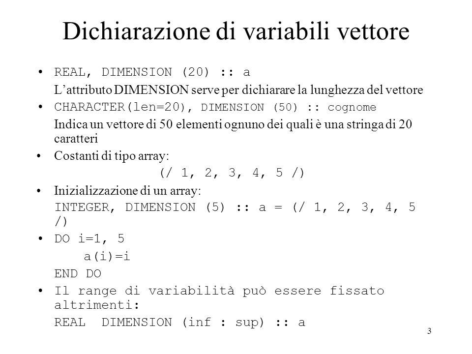 Dichiarazione di variabili vettore