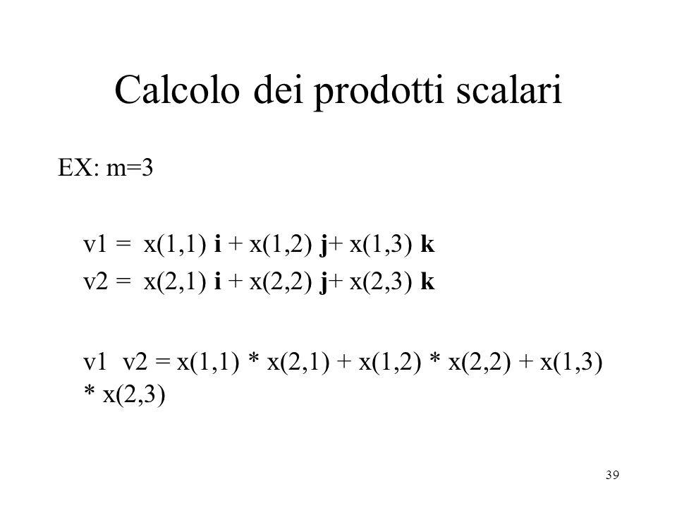 Calcolo dei prodotti scalari