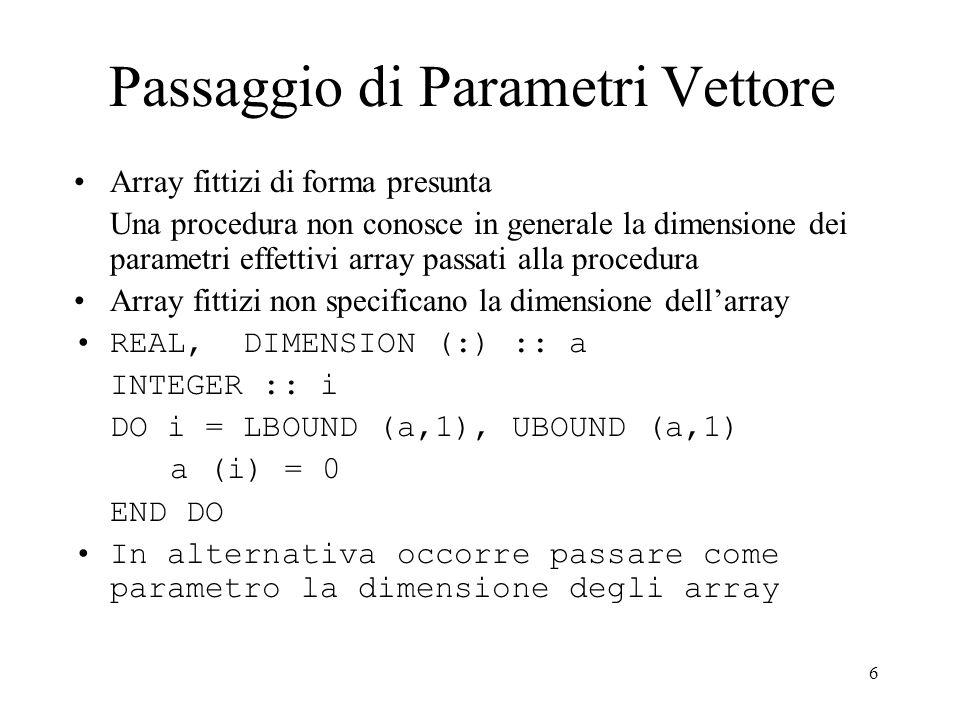 Passaggio di Parametri Vettore