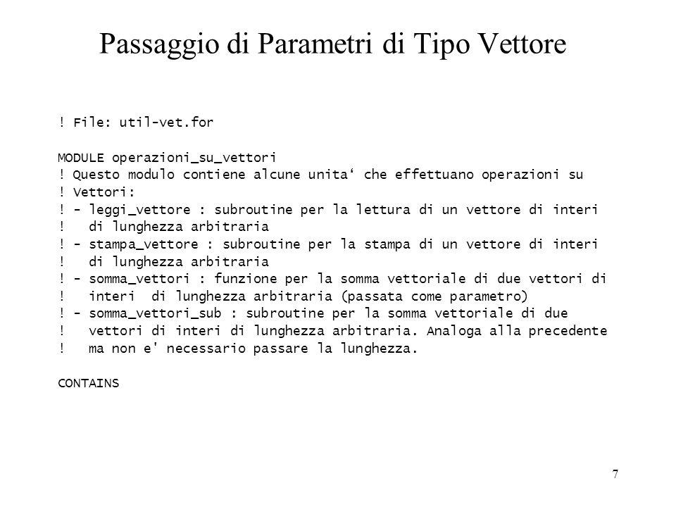 Passaggio di Parametri di Tipo Vettore