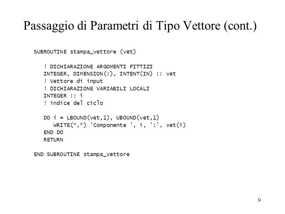 Passaggio di Parametri di Tipo Vettore (cont.)