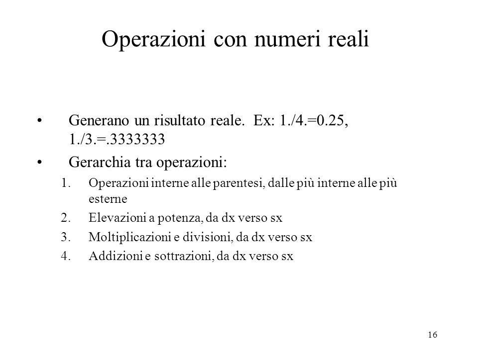 Operazioni con numeri reali