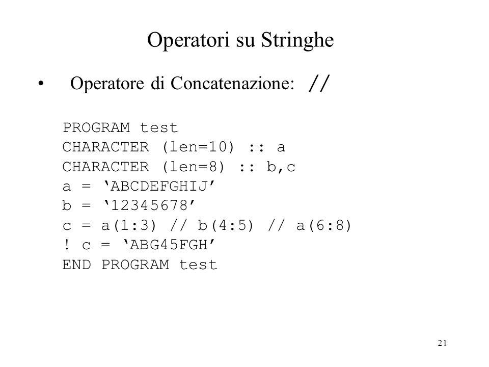 Operatori su Stringhe Operatore di Concatenazione: // PROGRAM test