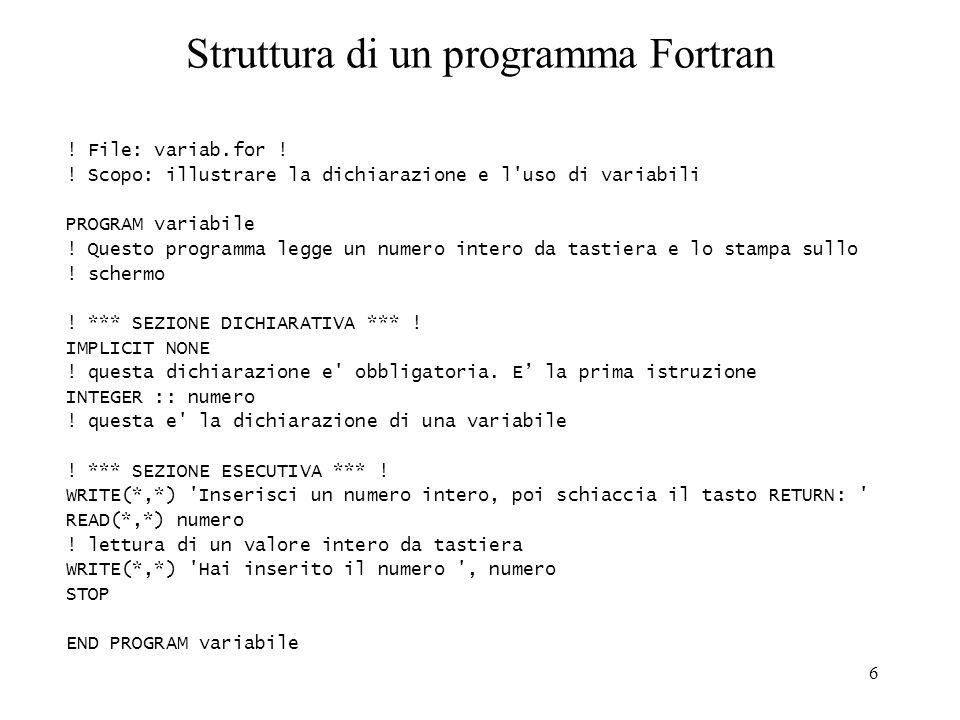 Struttura di un programma Fortran