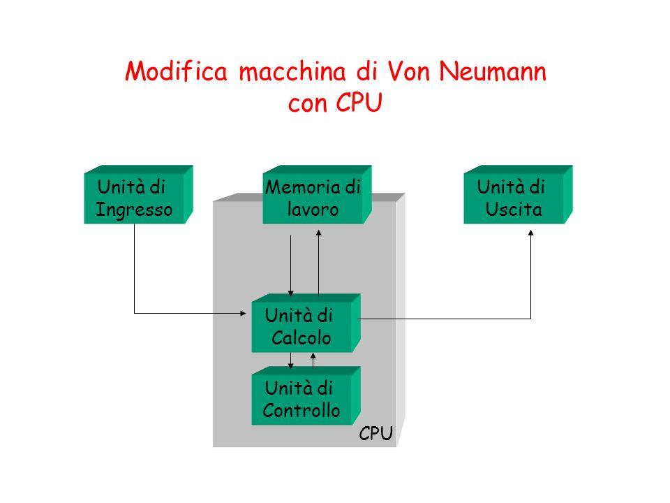 Modifica macchina di Von Neumann con CPU