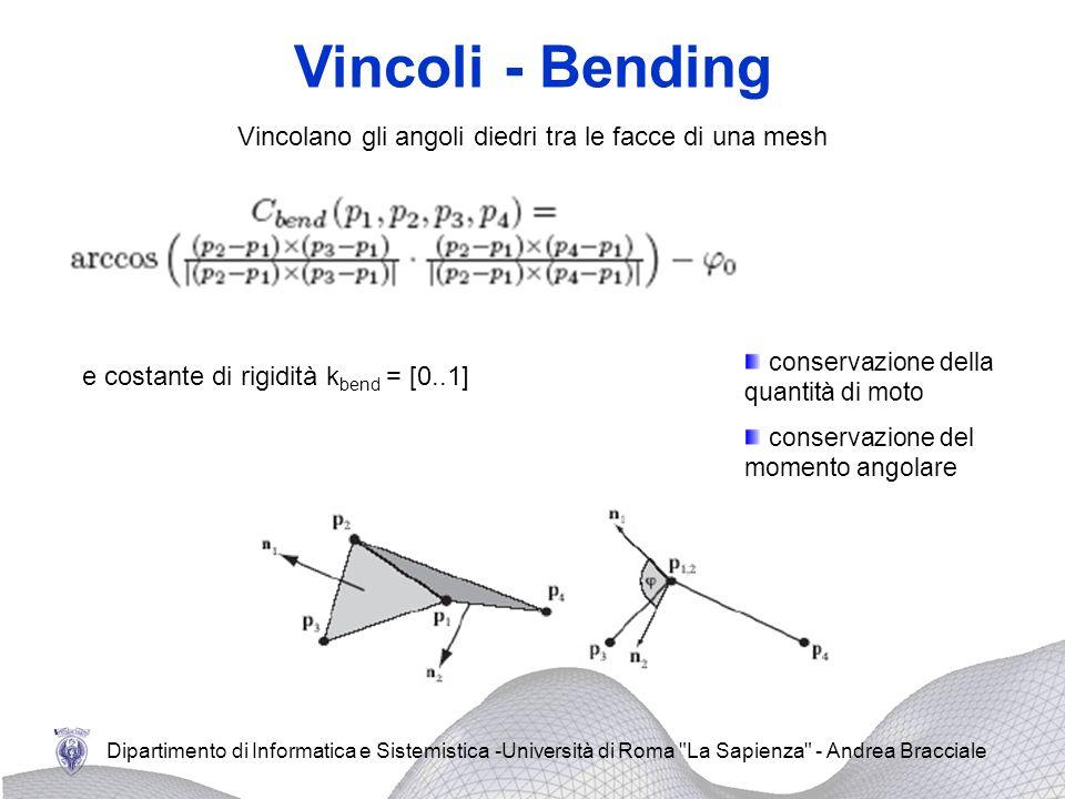 Vincoli - Bending Vincolano gli angoli diedri tra le facce di una mesh