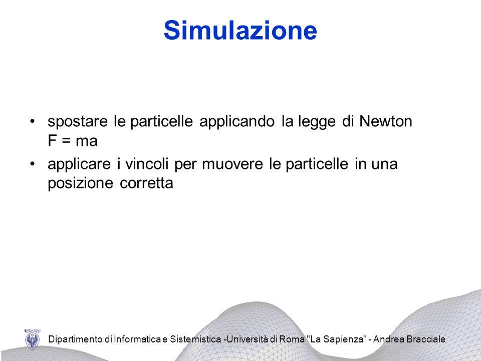 Simulazione spostare le particelle applicando la legge di Newton F = ma.