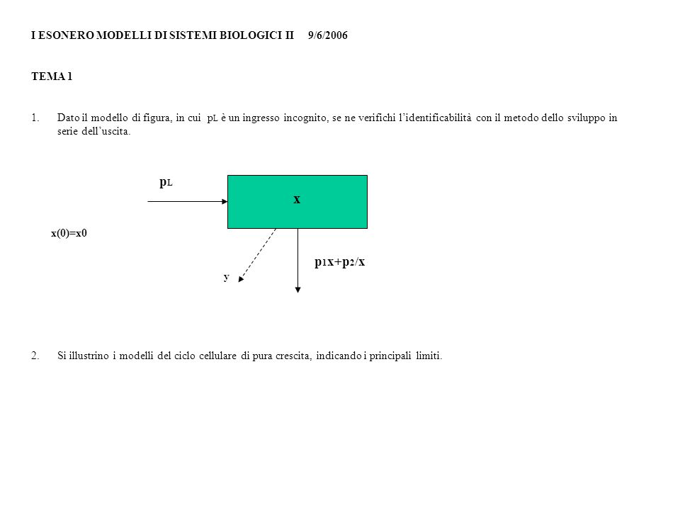 x pL p1x+p2/x I ESONERO MODELLI DI SISTEMI BIOLOGICI II 9/6/2006