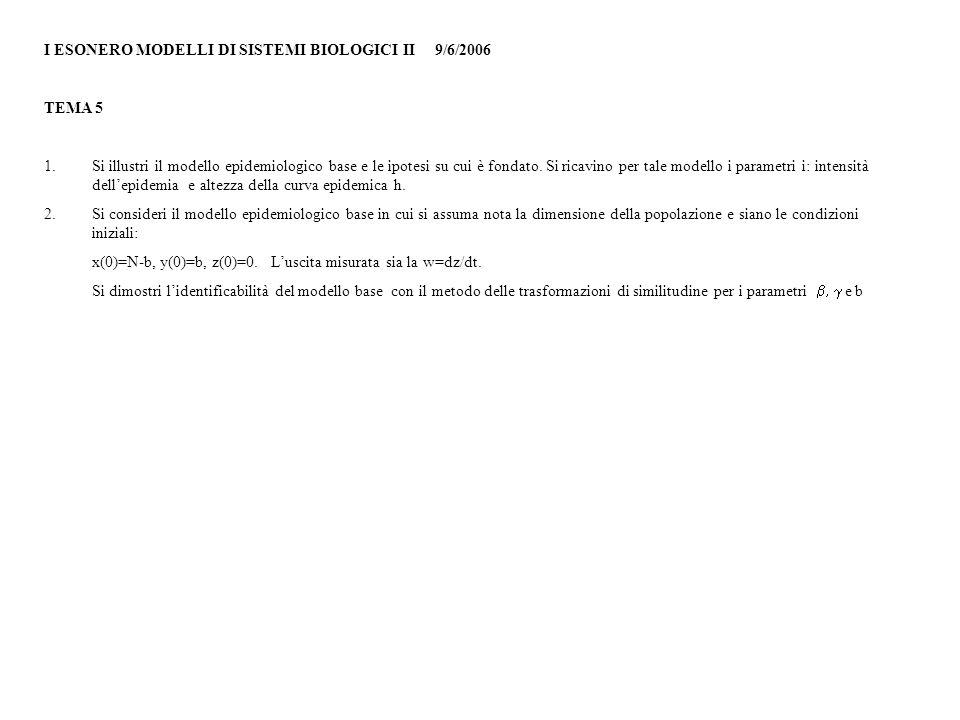 I ESONERO MODELLI DI SISTEMI BIOLOGICI II 9/6/2006