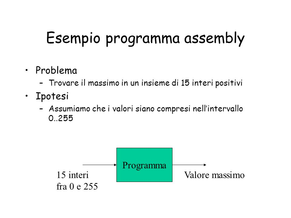 Esempio programma assembly
