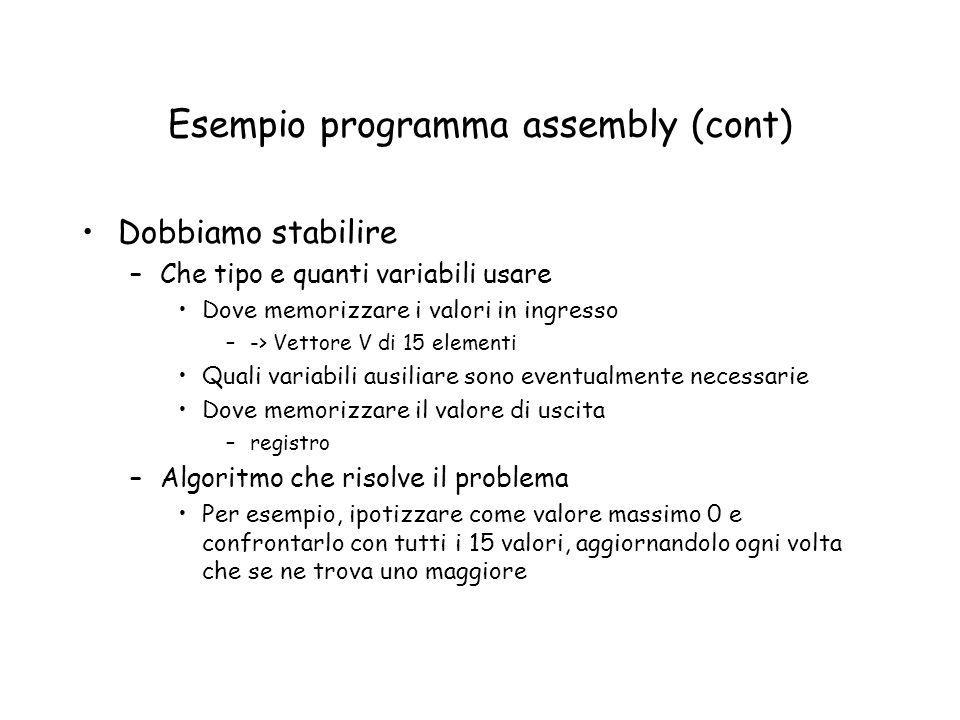 Esempio programma assembly (cont)