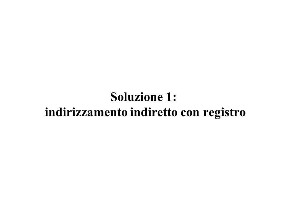 Soluzione 1: indirizzamento indiretto con registro
