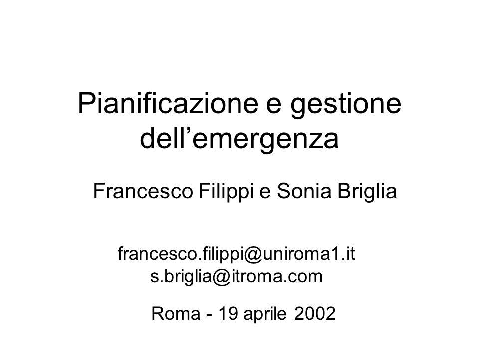 Pianificazione e gestione dell'emergenza