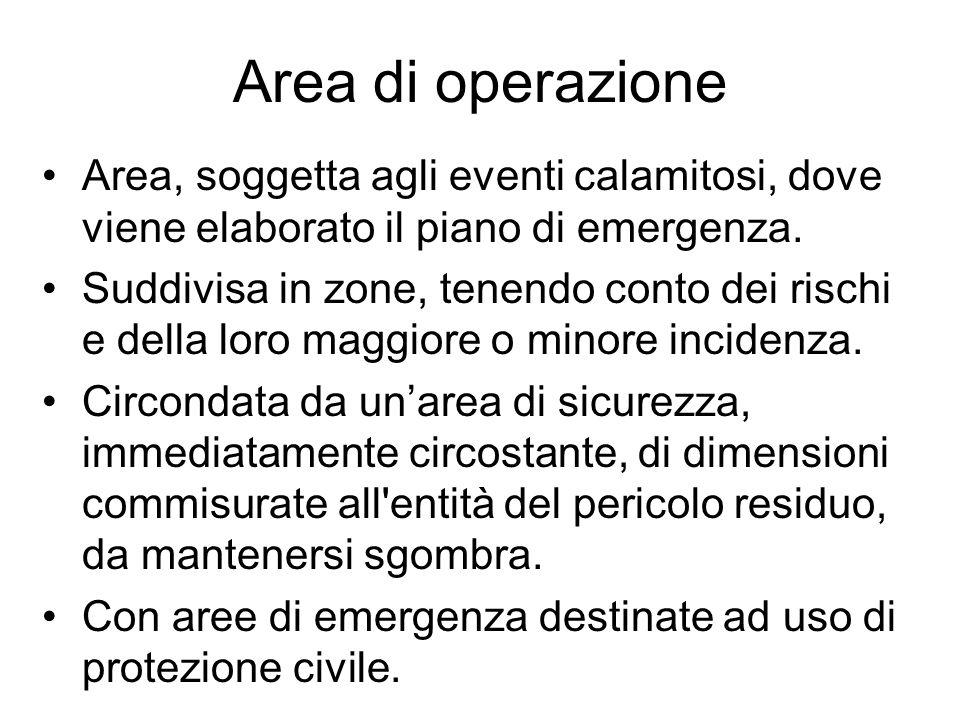 Area di operazione Area, soggetta agli eventi calamitosi, dove viene elaborato il piano di emergenza.