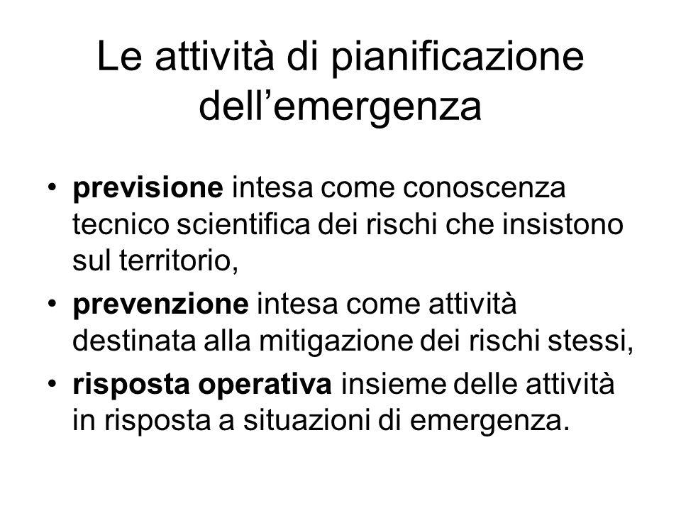 Le attività di pianificazione dell'emergenza
