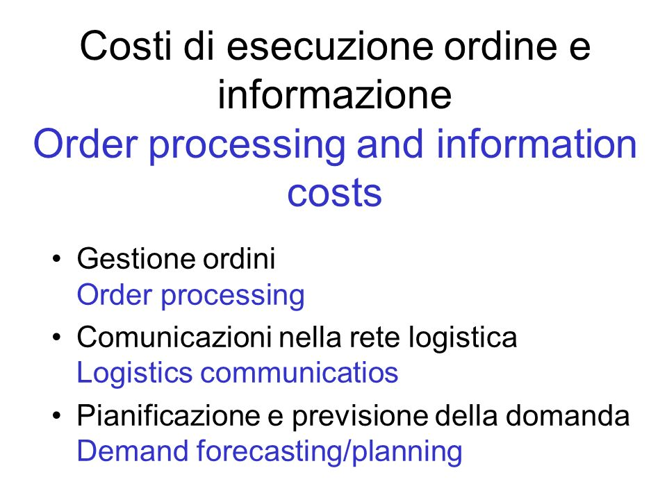 Costi di esecuzione ordine e informazione Order processing and information costs