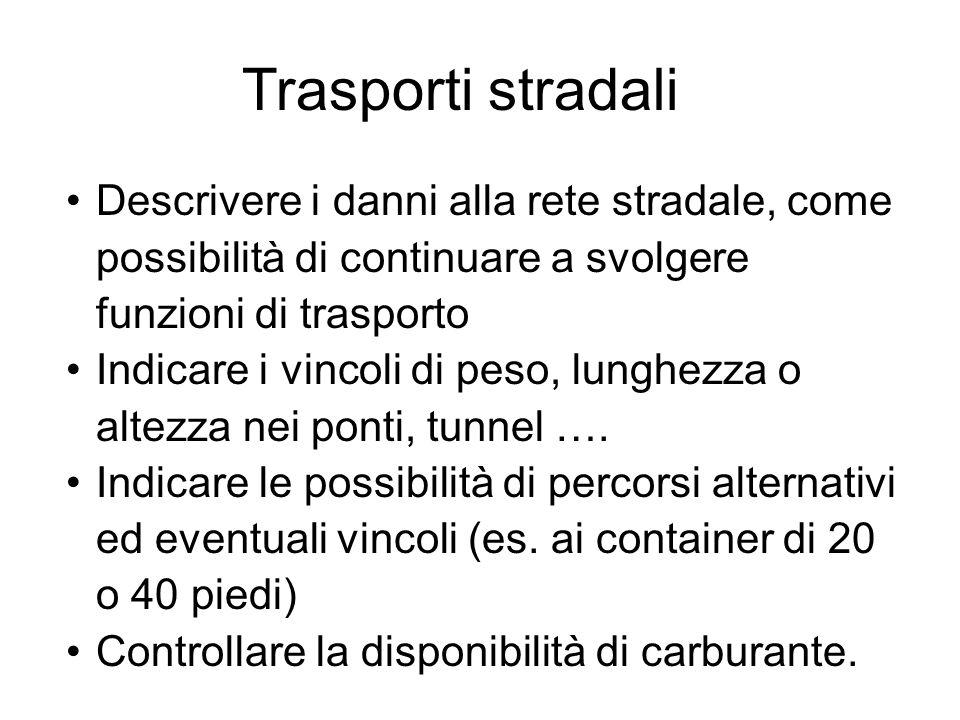 Trasporti stradali Descrivere i danni alla rete stradale, come possibilità di continuare a svolgere funzioni di trasporto.