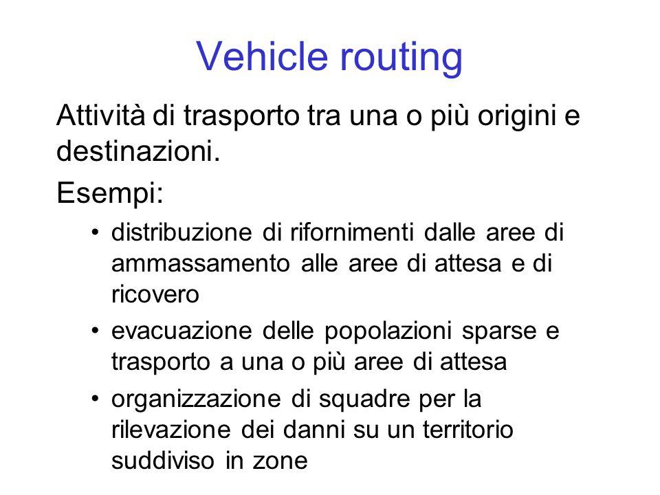 Vehicle routing Attività di trasporto tra una o più origini e destinazioni. Esempi:
