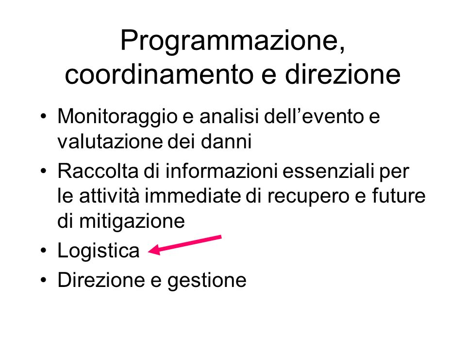 Programmazione, coordinamento e direzione