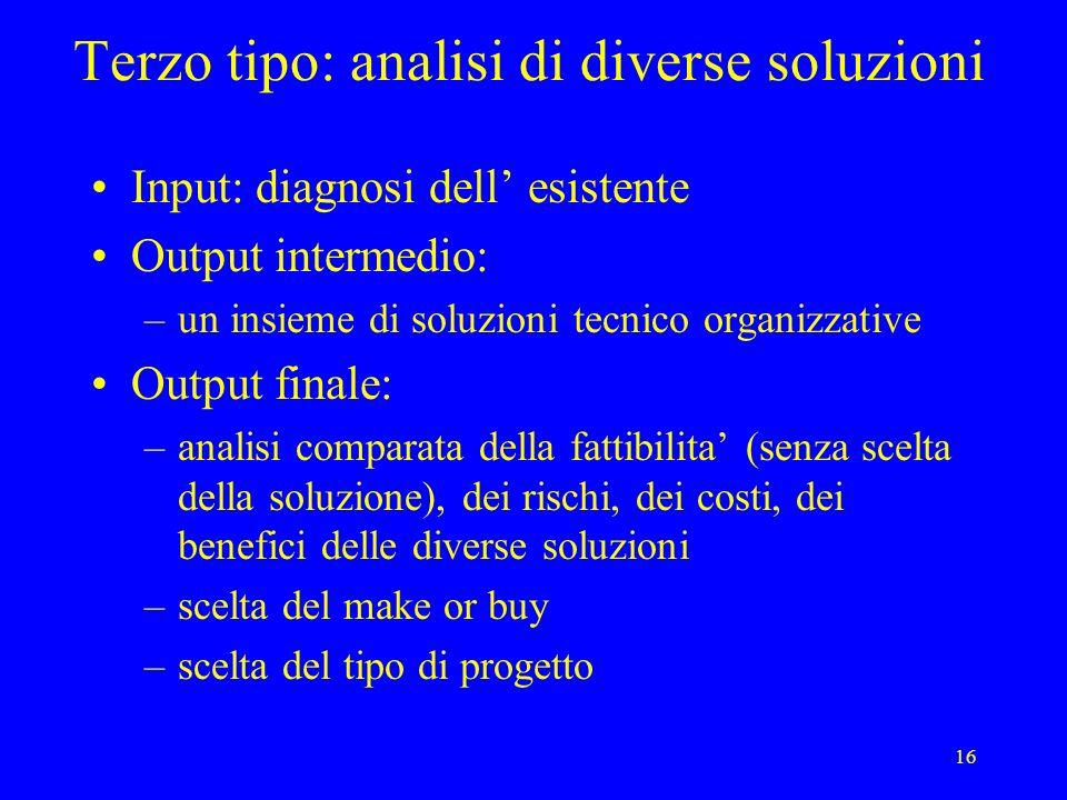 Terzo tipo: analisi di diverse soluzioni