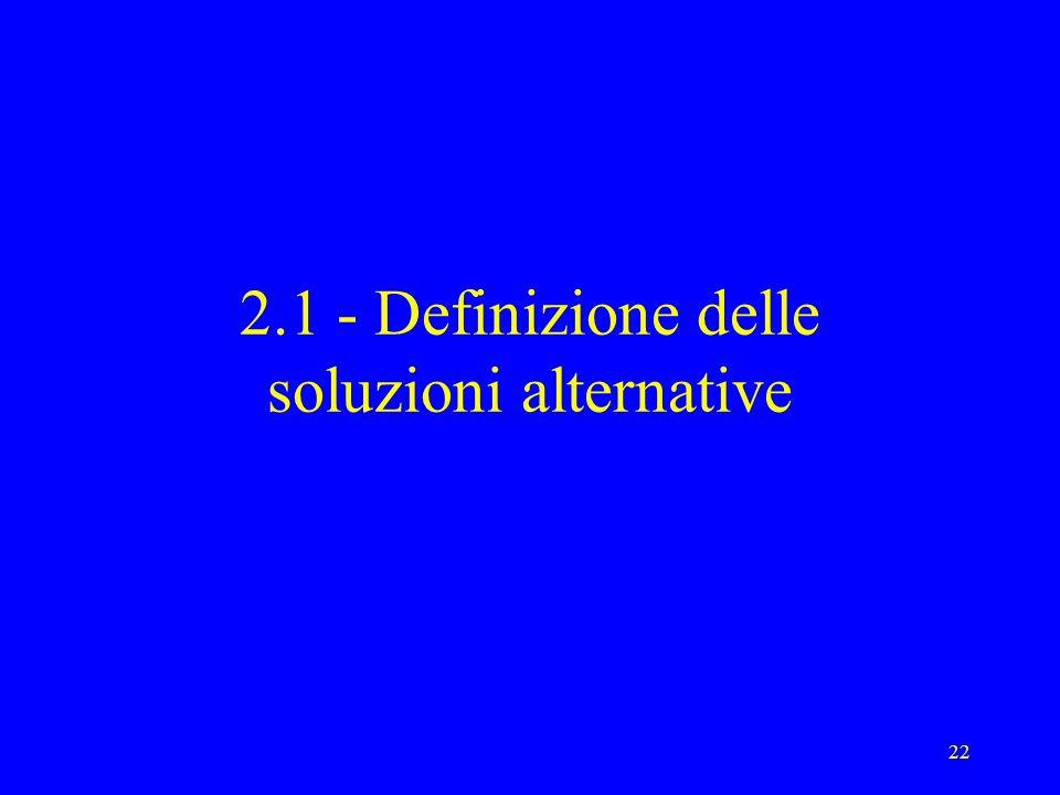 2.1 - Definizione delle soluzioni alternative