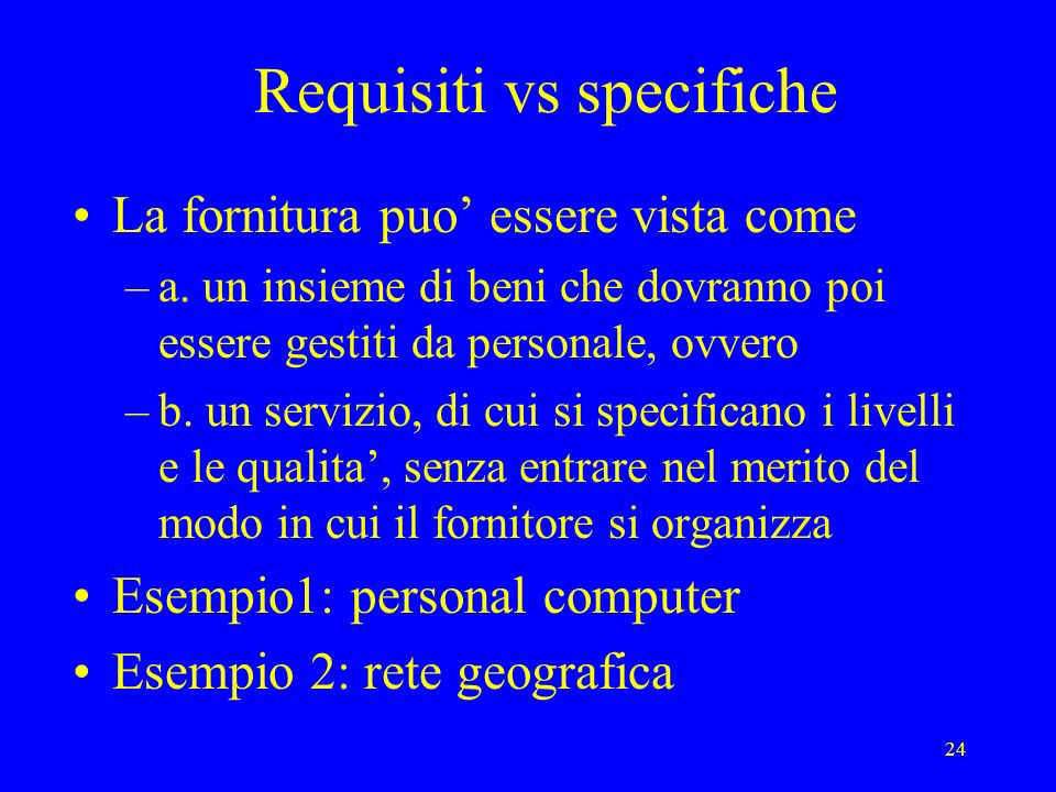 Requisiti vs specifiche