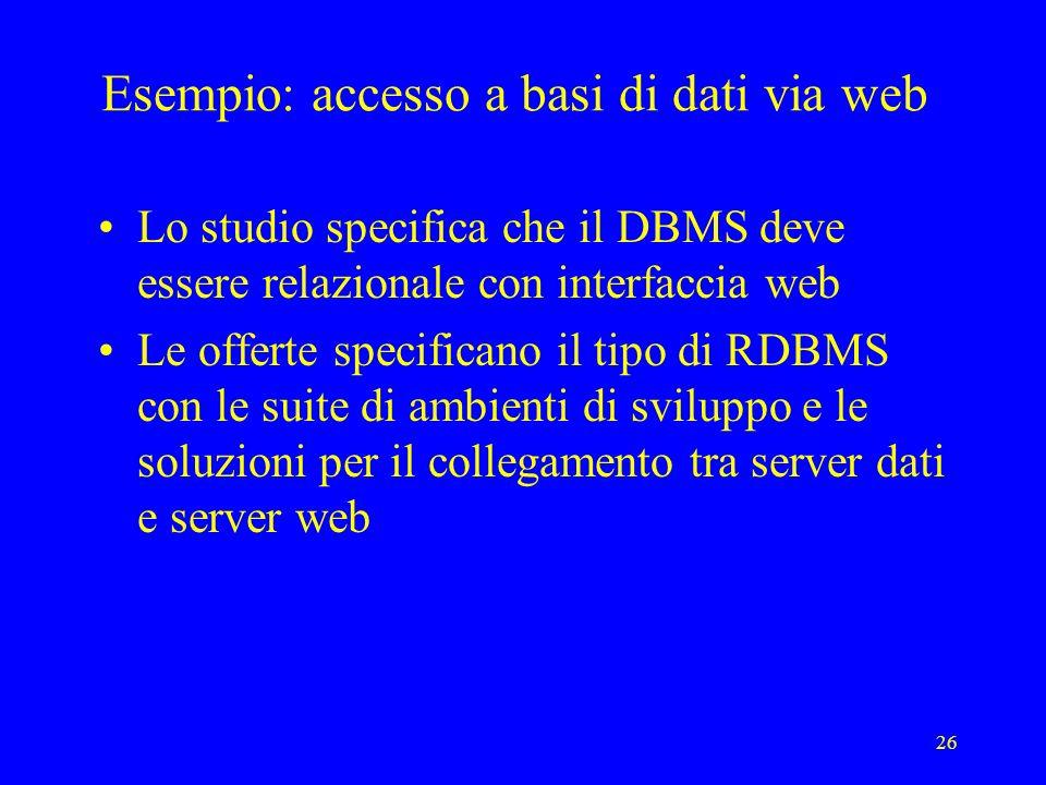 Esempio: accesso a basi di dati via web