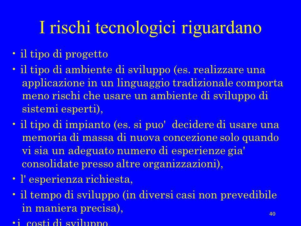 I rischi tecnologici riguardano