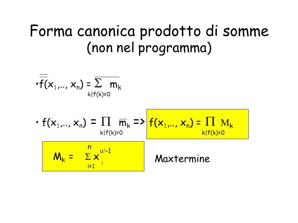 Forma canonica prodotto di somme (non nel programma)