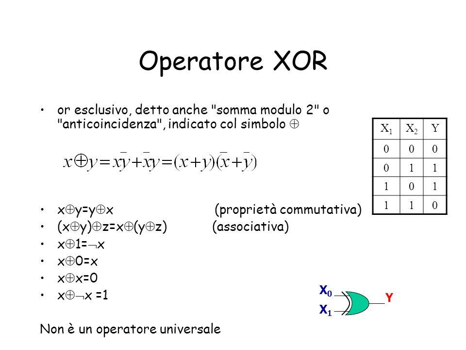 Operatore XOR or esclusivo, detto anche somma modulo 2 o anticoincidenza , indicato col simbolo 