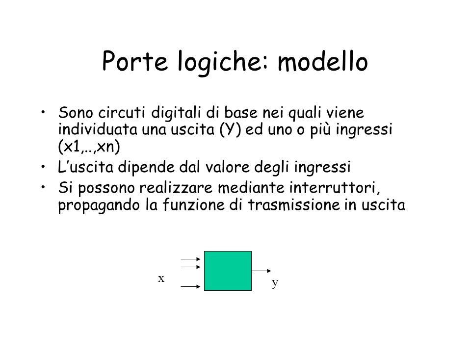 Porte logiche: modello