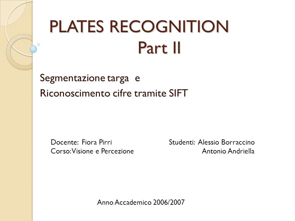 PLATES RECOGNITION Part II