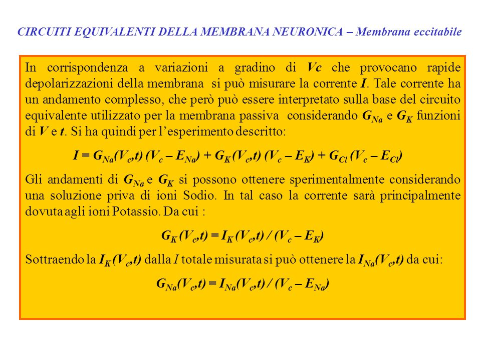 GK (Vc,t) = IK (Vc,t) / (Vc – EK) GNa(Vc,t) = INa(Vc,t) / (Vc – ENa)
