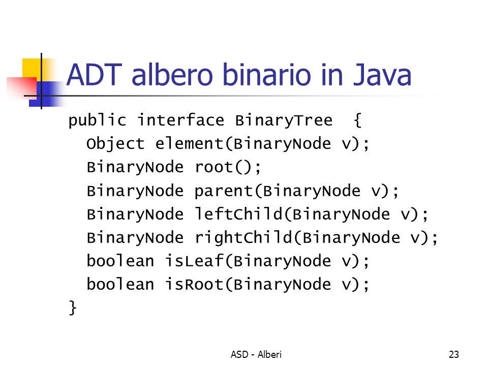 ADT albero binario in Java