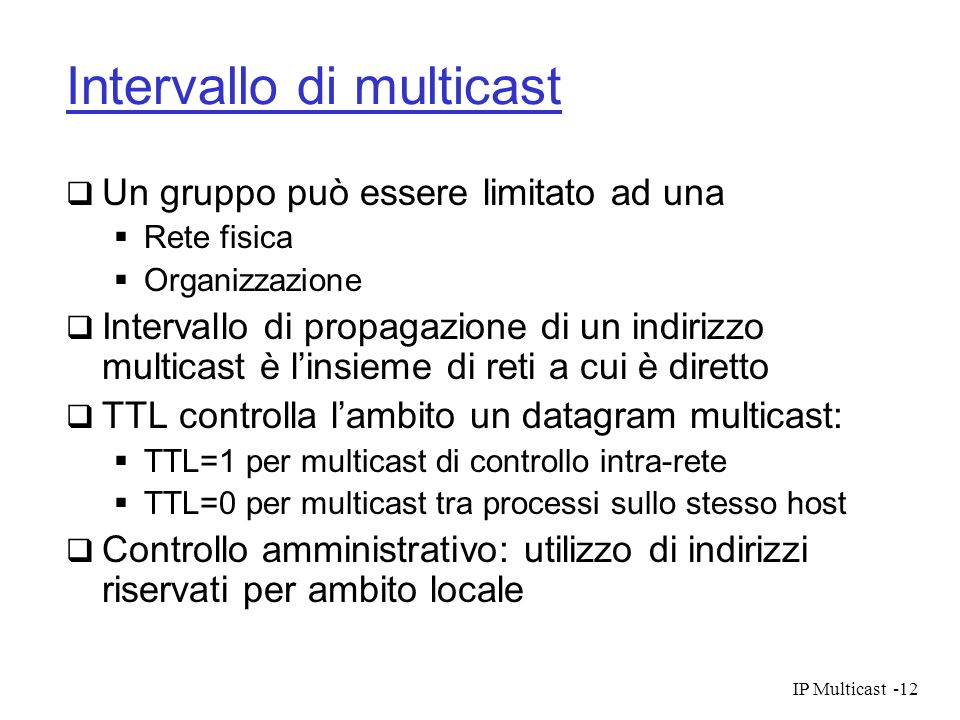 Intervallo di multicast