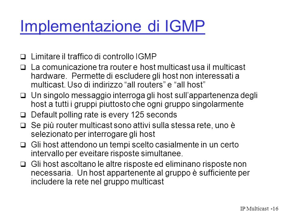 Implementazione di IGMP