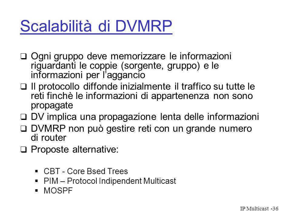 Scalabilità di DVMRP Ogni gruppo deve memorizzare le informazioni riguardanti le coppie (sorgente, gruppo) e le informazioni per l'aggancio.