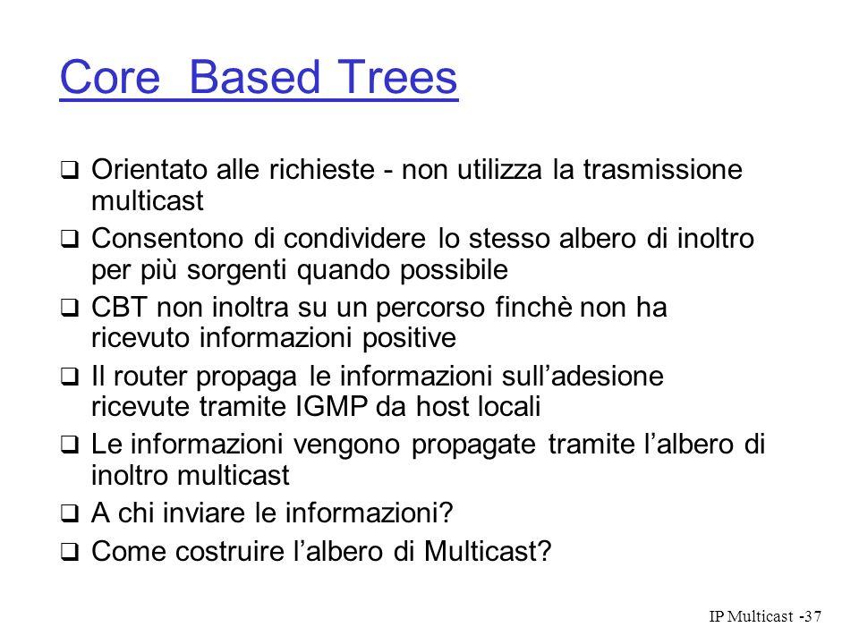 Core Based TreesOrientato alle richieste - non utilizza la trasmissione multicast.