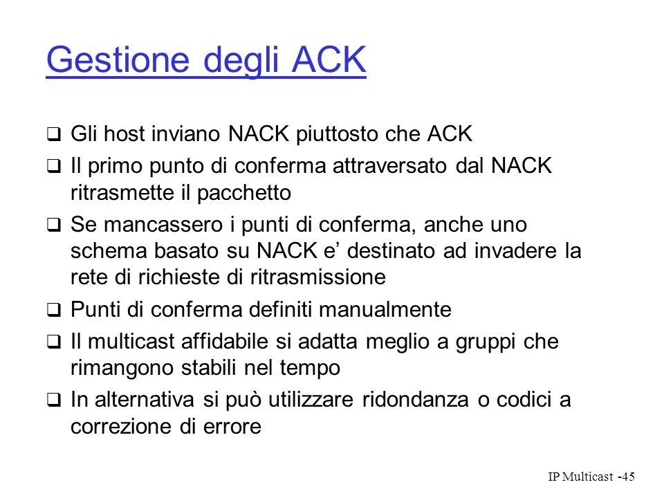 Gestione degli ACK Gli host inviano NACK piuttosto che ACK