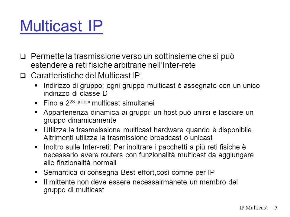 Multicast IP Permette la trasmissione verso un sottinsieme che si può estendere a reti fisiche arbitrarie nell'Inter-rete.