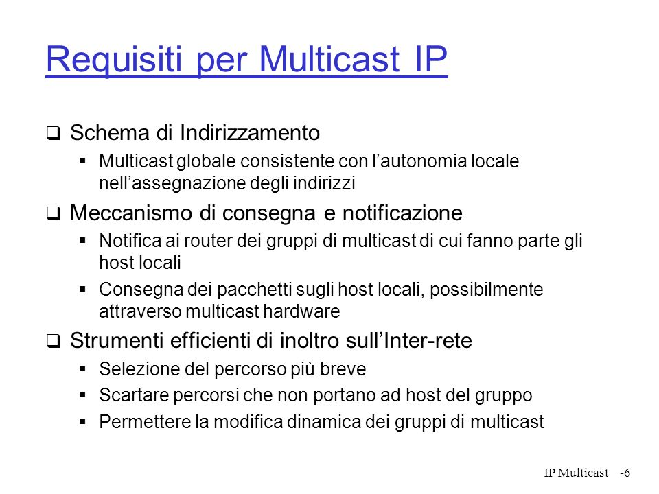 Requisiti per Multicast IP