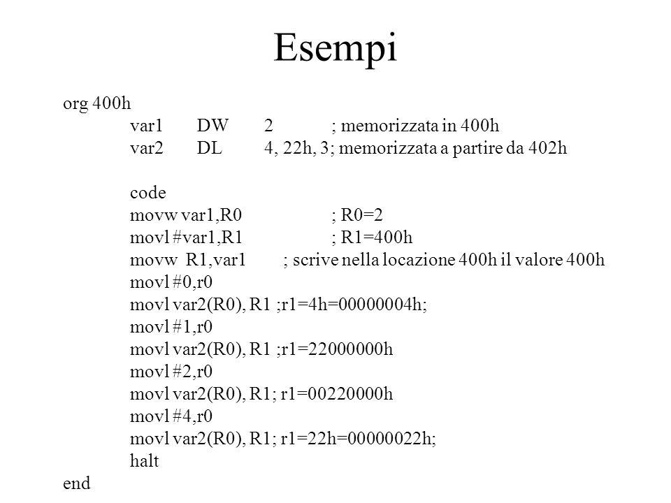 Esempi org 400h var1 DW 2 ; memorizzata in 400h
