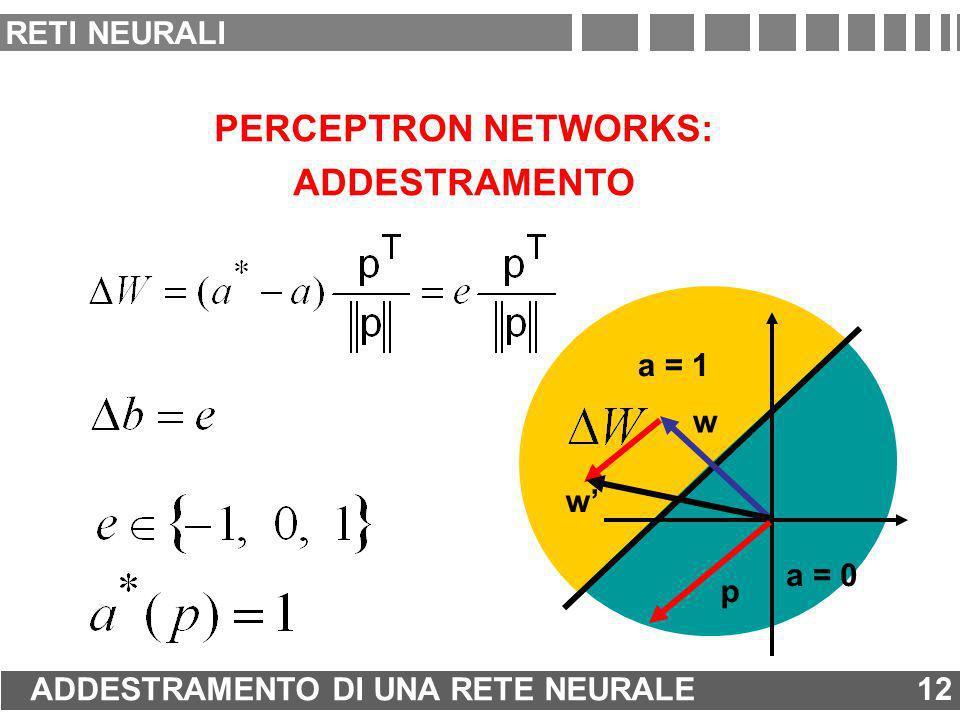 PERCEPTRON NETWORKS: ADDESTRAMENTO