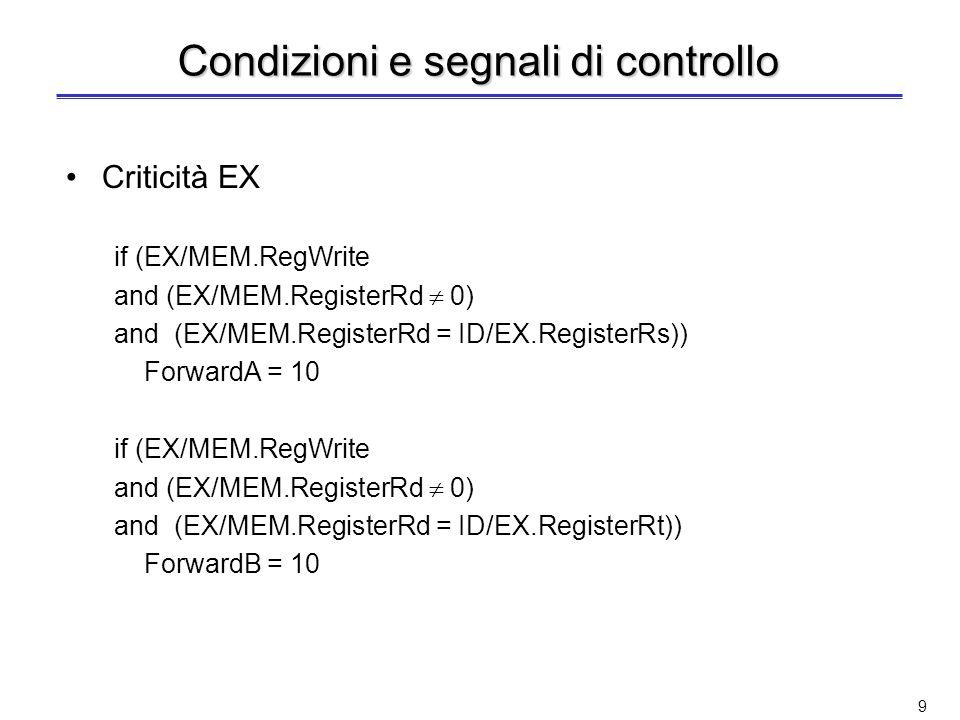 Condizioni e segnali di controllo