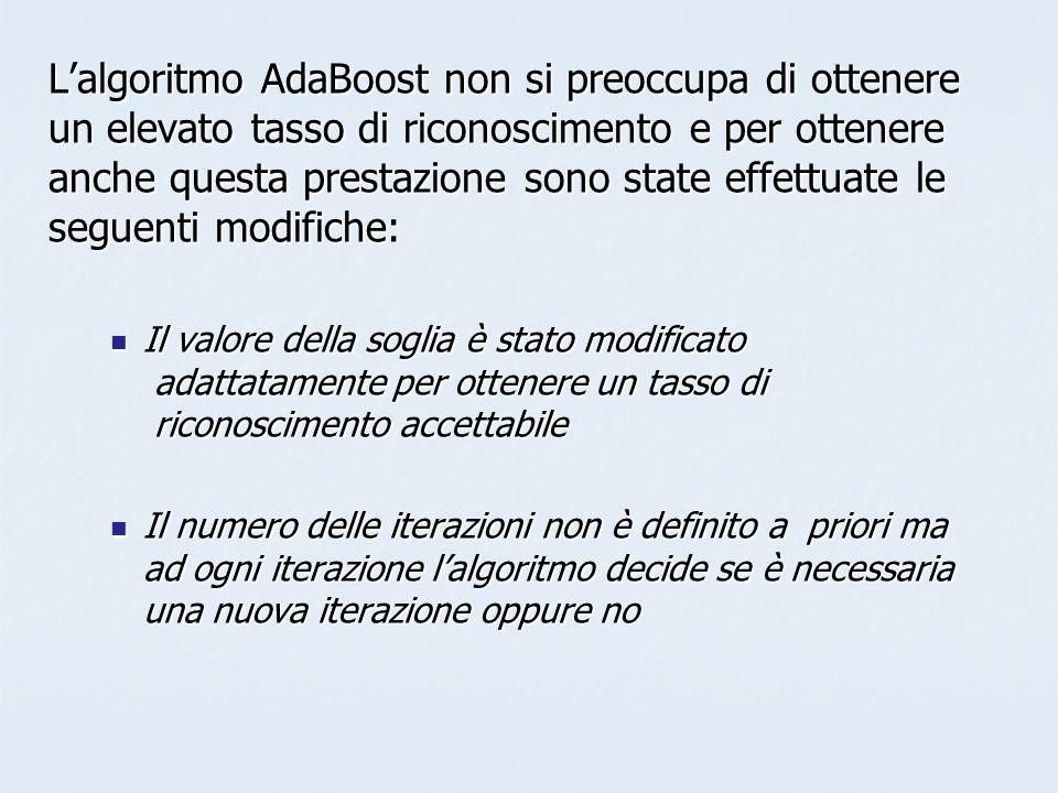 L'algoritmo AdaBoost non si preoccupa di ottenere un elevato tasso di riconoscimento e per ottenere anche questa prestazione sono state effettuate le seguenti modifiche: