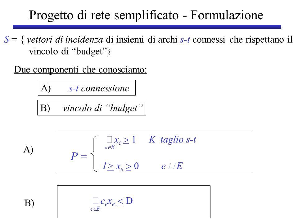 Progetto di rete semplificato - Formulazione