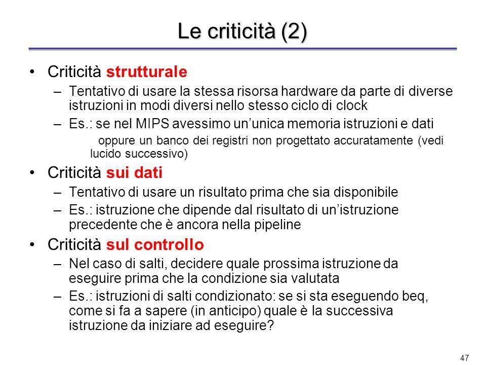 Le criticità (2) Criticità strutturale Criticità sui dati